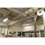 SS belt conveyor, 24 ft. long x 18 in. wide, suspended from ceiling, with motor and drive. **Rigging