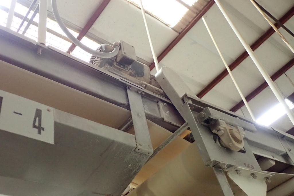 SS belt conveyor, 22 ft. long x 18 in. wide, suspended from ceiling, with motor and drive. **Rigging - Image 4 of 6