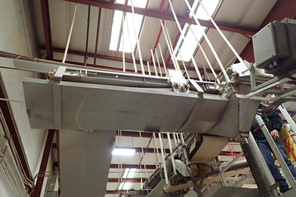 SS belt conveyor, 10 ft. long x 24 in. wide, suspended from ceiling, with motor and drive. **Rigging - Image 2 of 3