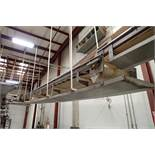 SS belt conveyor, 36 ft. long x 24 in. wide, suspended from ceiling, with motor and drive. **Rigging