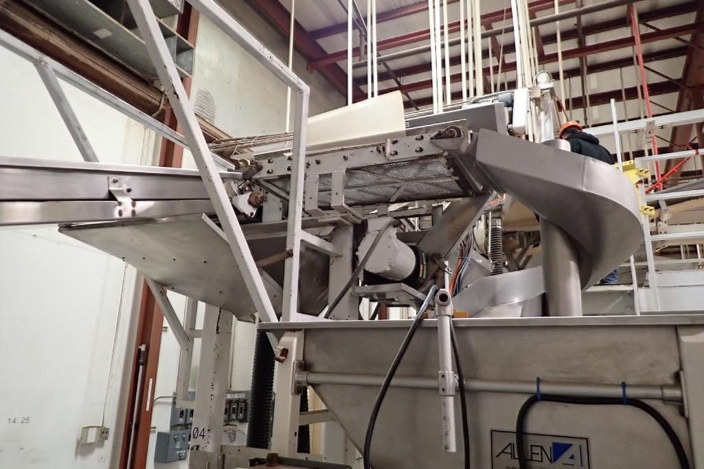 Allen SS hopper vibratory feeder system, mild steel frame, for filling bag in box. **Rigging Fee: $4 - Image 4 of 12