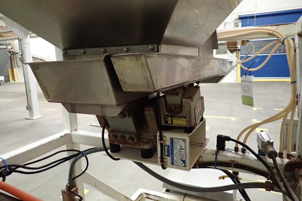 Allen SS hopper vibratory feeder system, mild steel frame, for filling bag in box. **Rigging Fee: $4 - Image 9 of 12