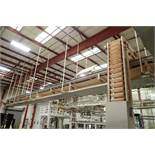 Rail-Conveyor SS belt conveyor, 45 ft. long x 24 in. wide, SS frame, suspended from ceiling. **Riggi