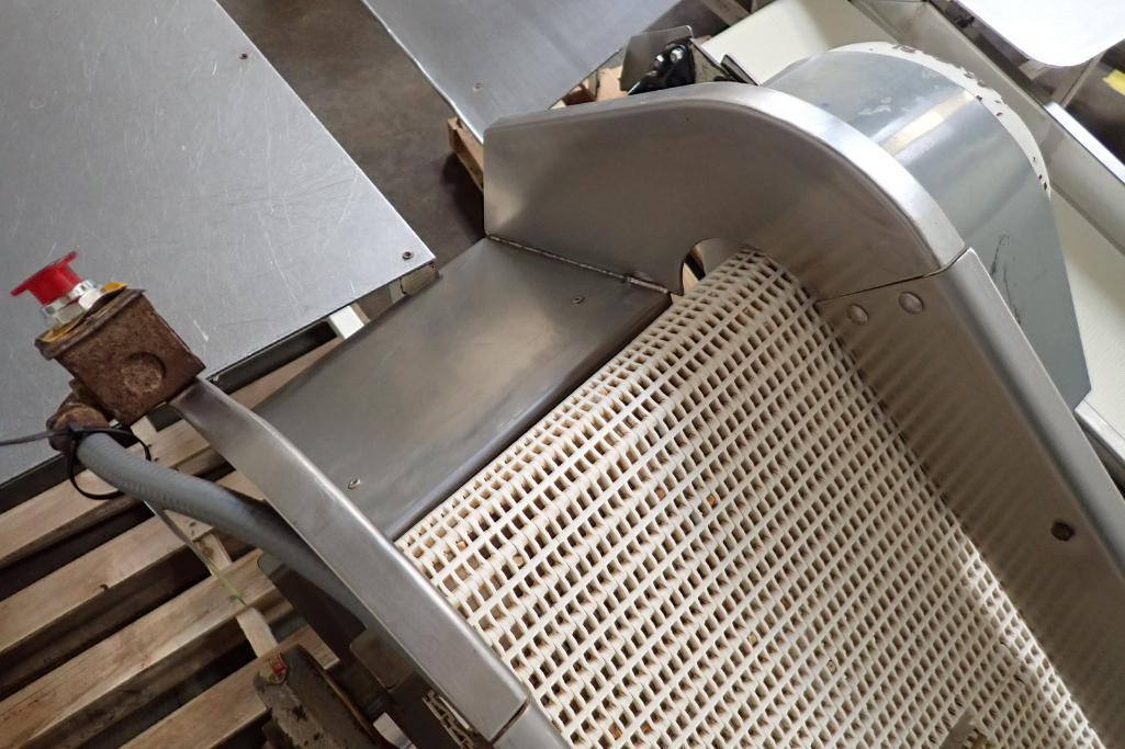 Mild Steel white cleated interlock belt conveyor, 8 ft. long x 12 in. wide, 42 in. discharge, on cas - Image 6 of 6