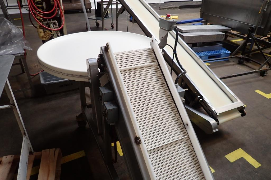 SS incline white cleated Interlock belt conveyor, 8 ft. long x 12 in. wide 10 in. infeed x 42 in. di - Image 4 of 8