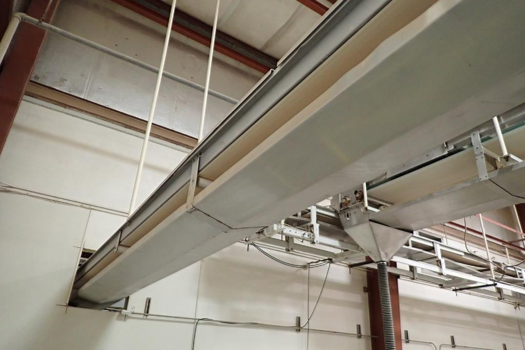 SS belt conveyor, 22 ft. long x 18 in. wide, suspended from ceiling, with motor and drive. **Rigging - Image 6 of 6