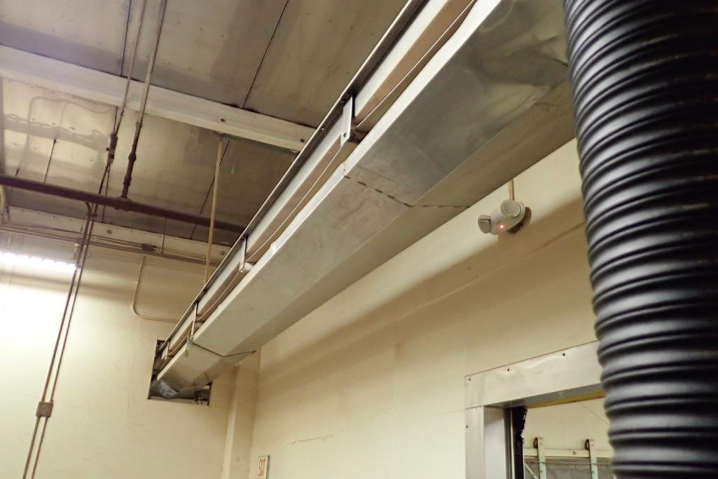 SS belt conveyor, 26 ft. long x 18 in. wide, suspended from ceiling, with motor and drive. **Rigging - Image 3 of 6