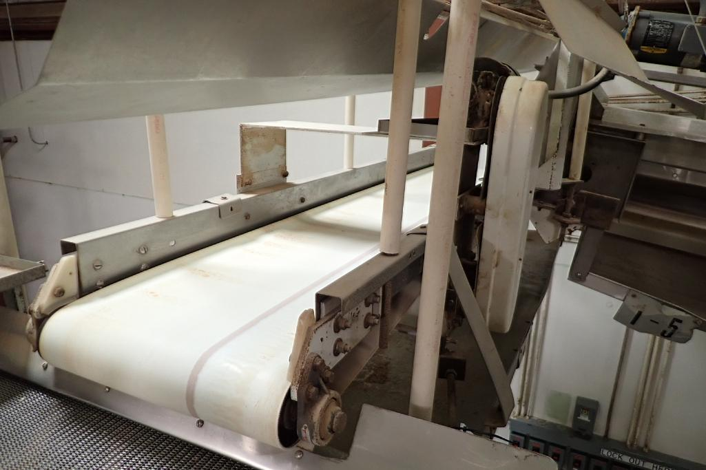 SS belt conveyor, 10 ft. long x 24 in. wide, suspended from ceiling, with motor and drive. **Rigging - Image 3 of 3
