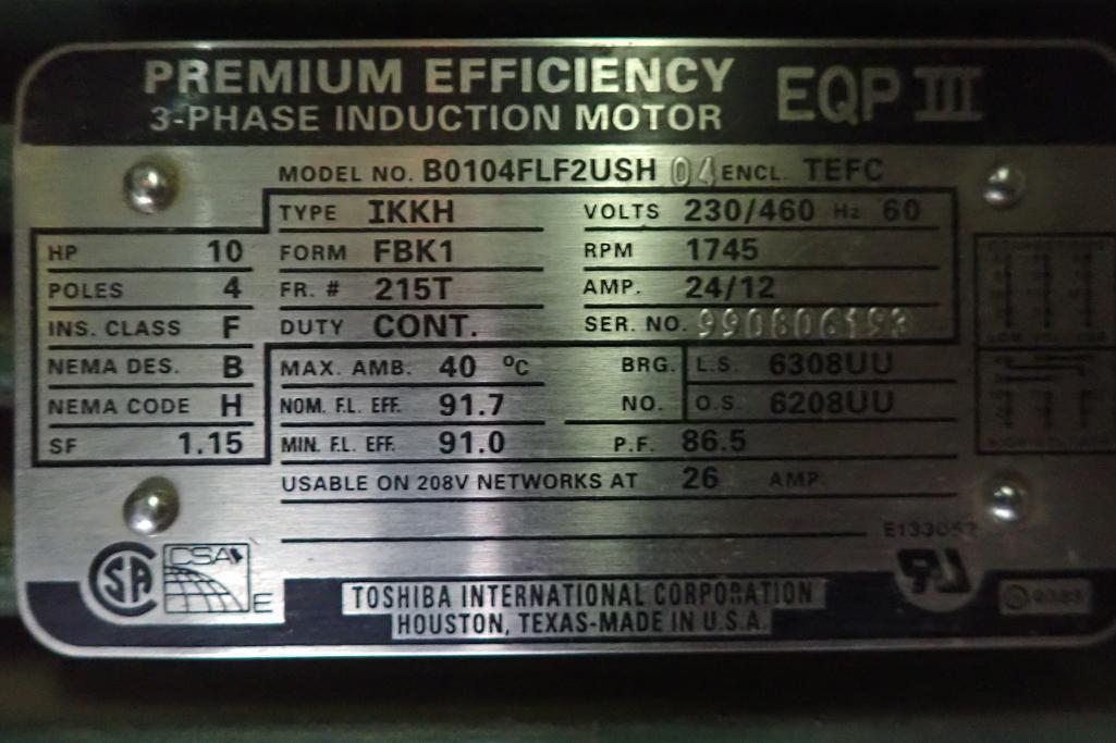 Schick 10 hp blower package, SutorbiltModel: GAELDPA, rotary positive blower. **Rigging Fee: $300** - Image 5 of 7