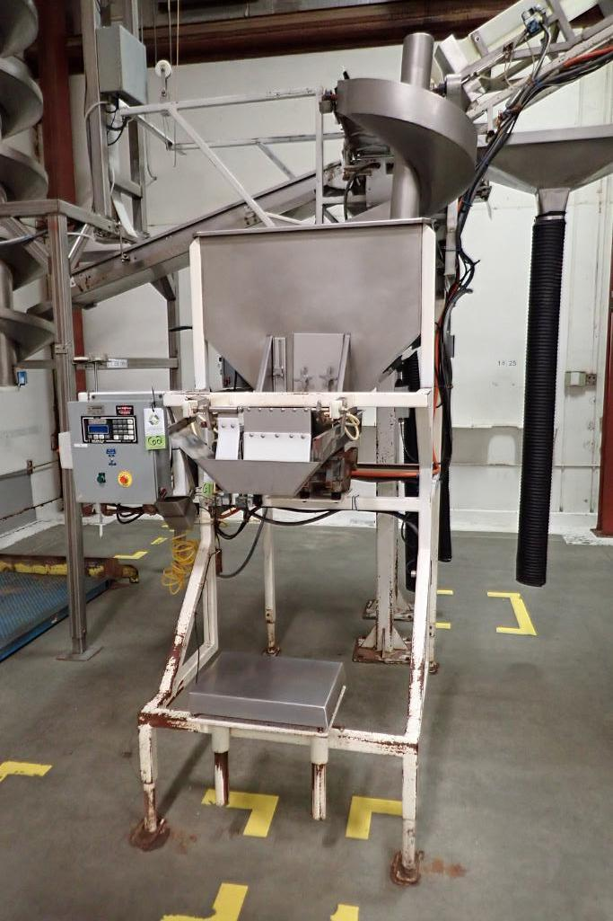 Allen SS hopper vibratory feeder system, mild steel frame, for filling bag in box. **Rigging Fee: $4
