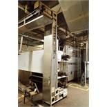 ASEECO bucket elevator, Model ALS-0-12CP, SN ALS 10062, 3 ft. bottom leg x 13 ft. tall x 3 ft. top l
