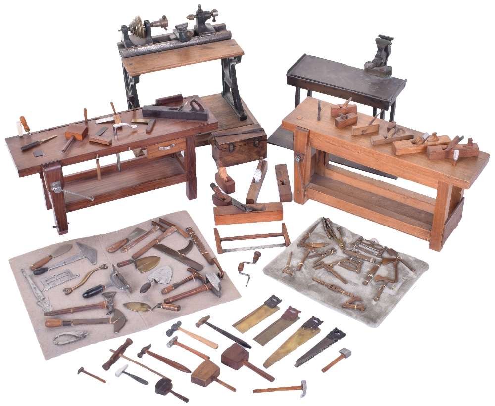 Lot 213 - A Fine collection of miniature woodworking and engineering tools, approx.: 1/10th scale, probably