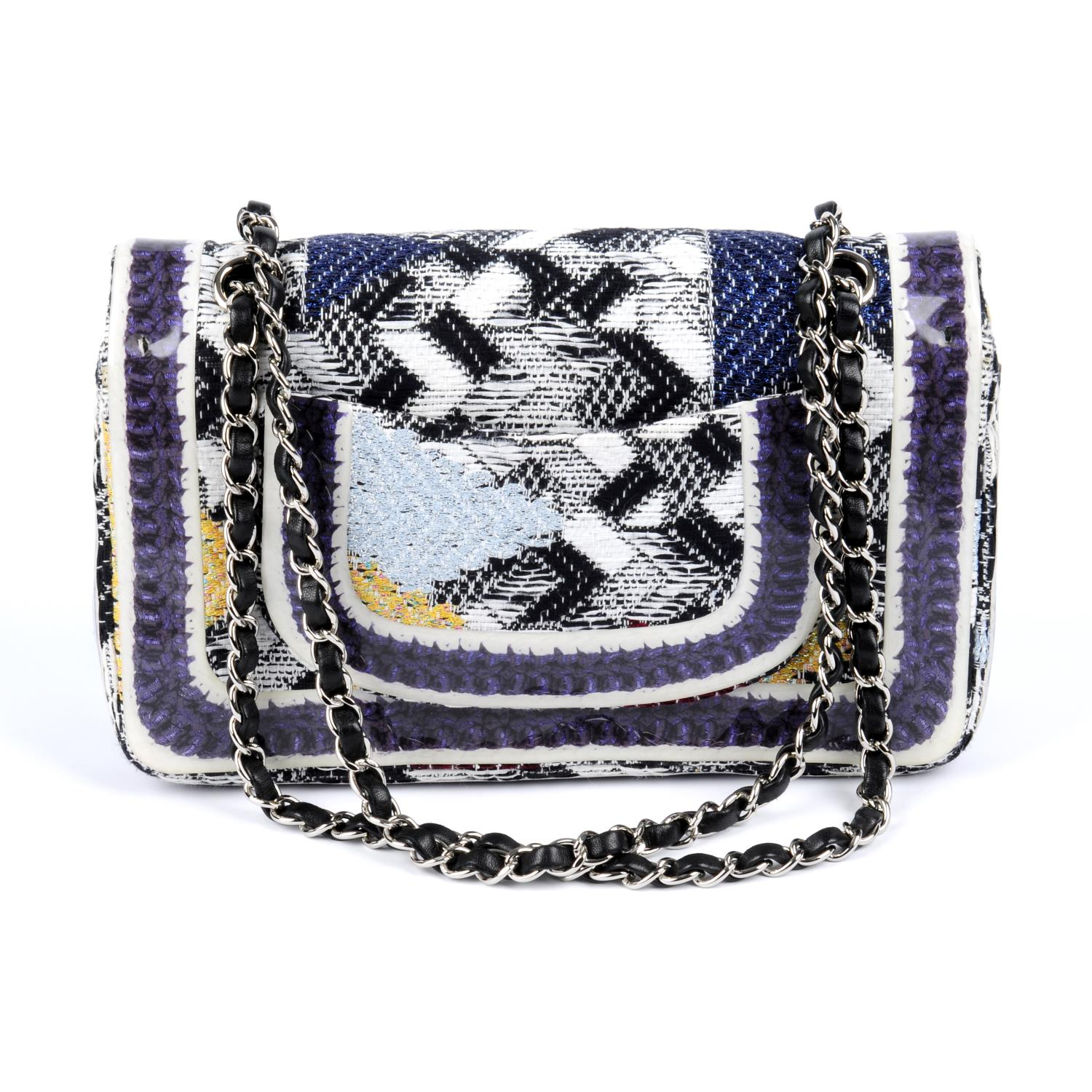 CHANEL - a Silicone-Covered Tweed Double Flap handbag. - Image 2 of 4