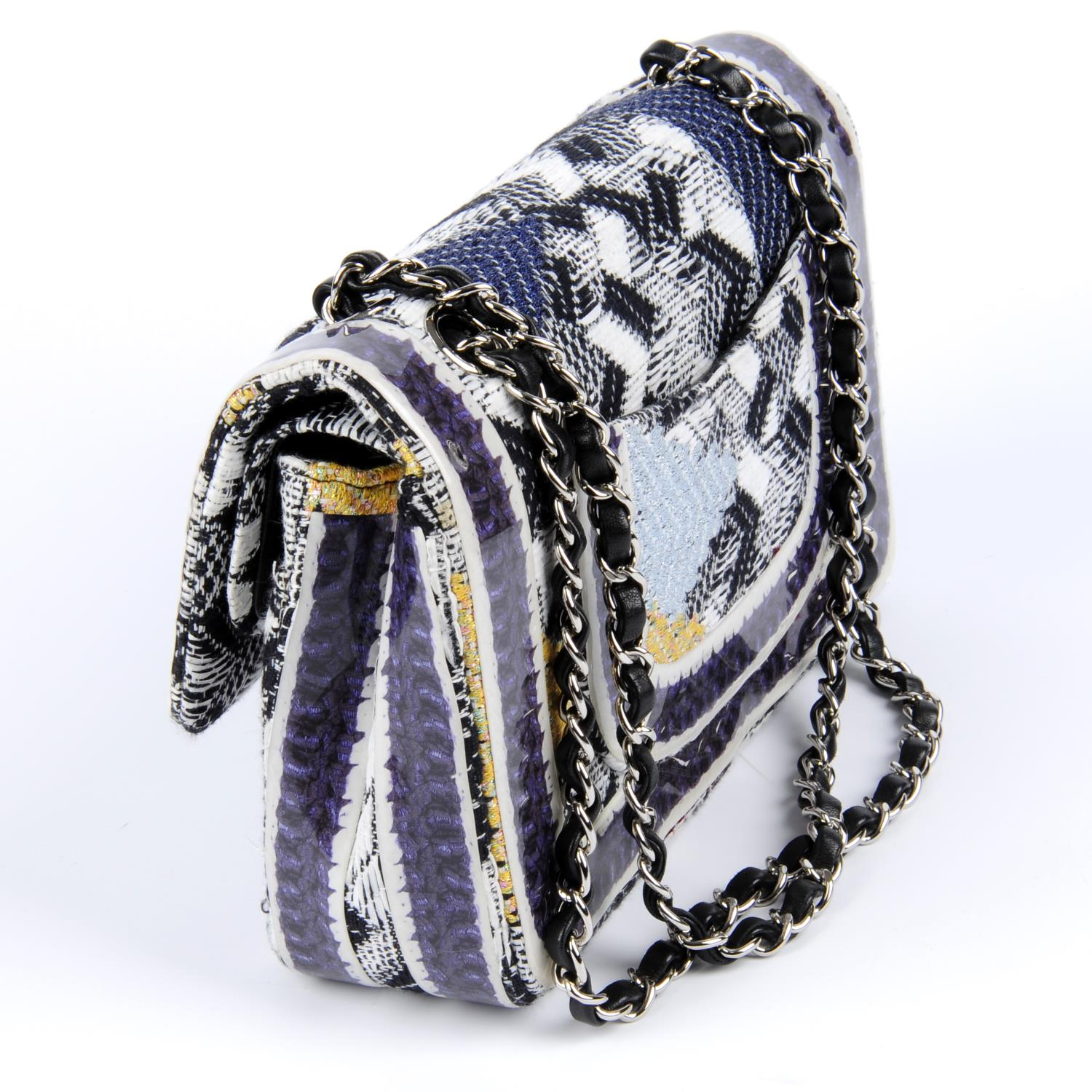 CHANEL - a Silicone-Covered Tweed Double Flap handbag. - Image 3 of 4