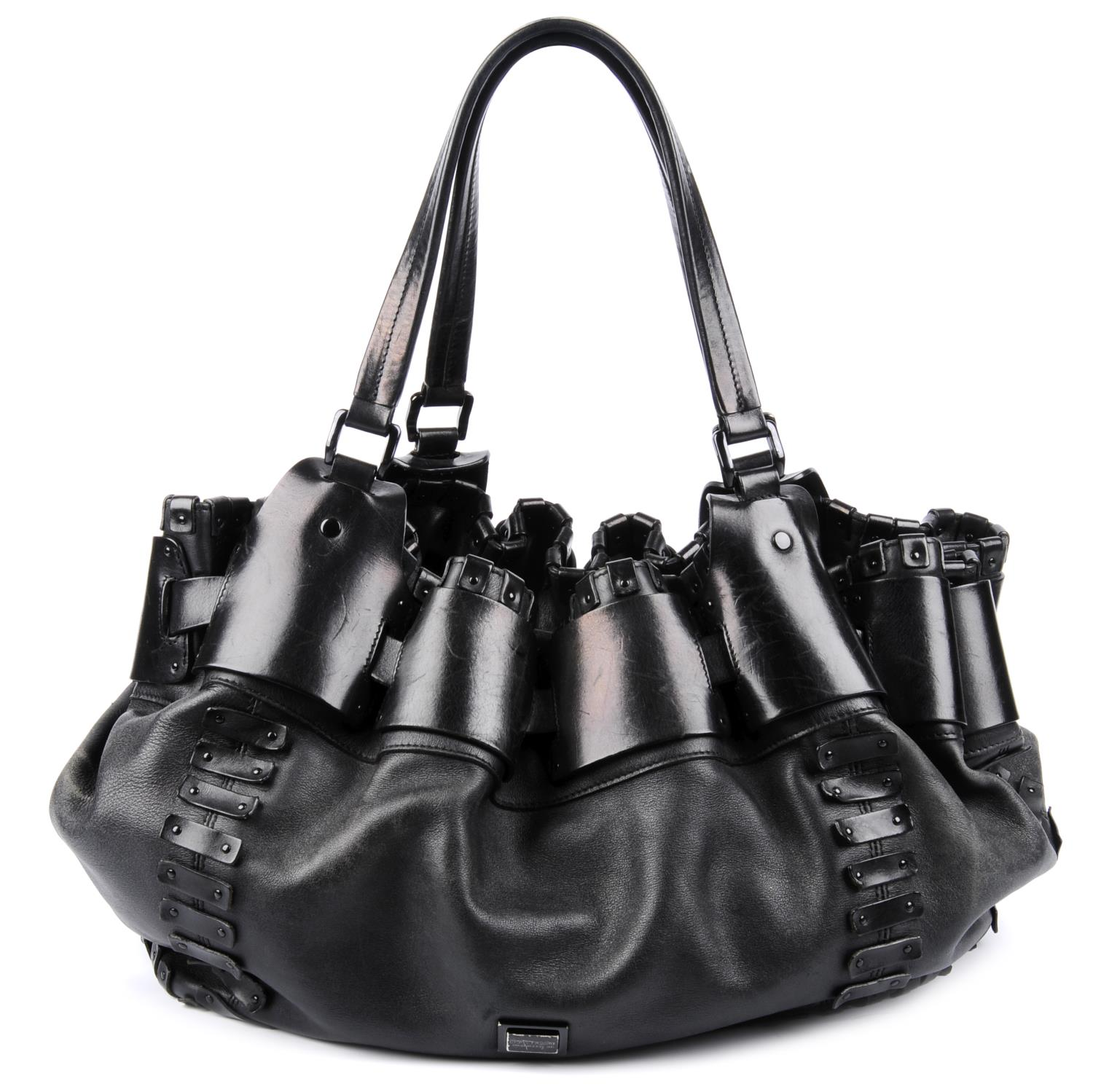 Lot 14 - BURBERRY - a black leather handbag.