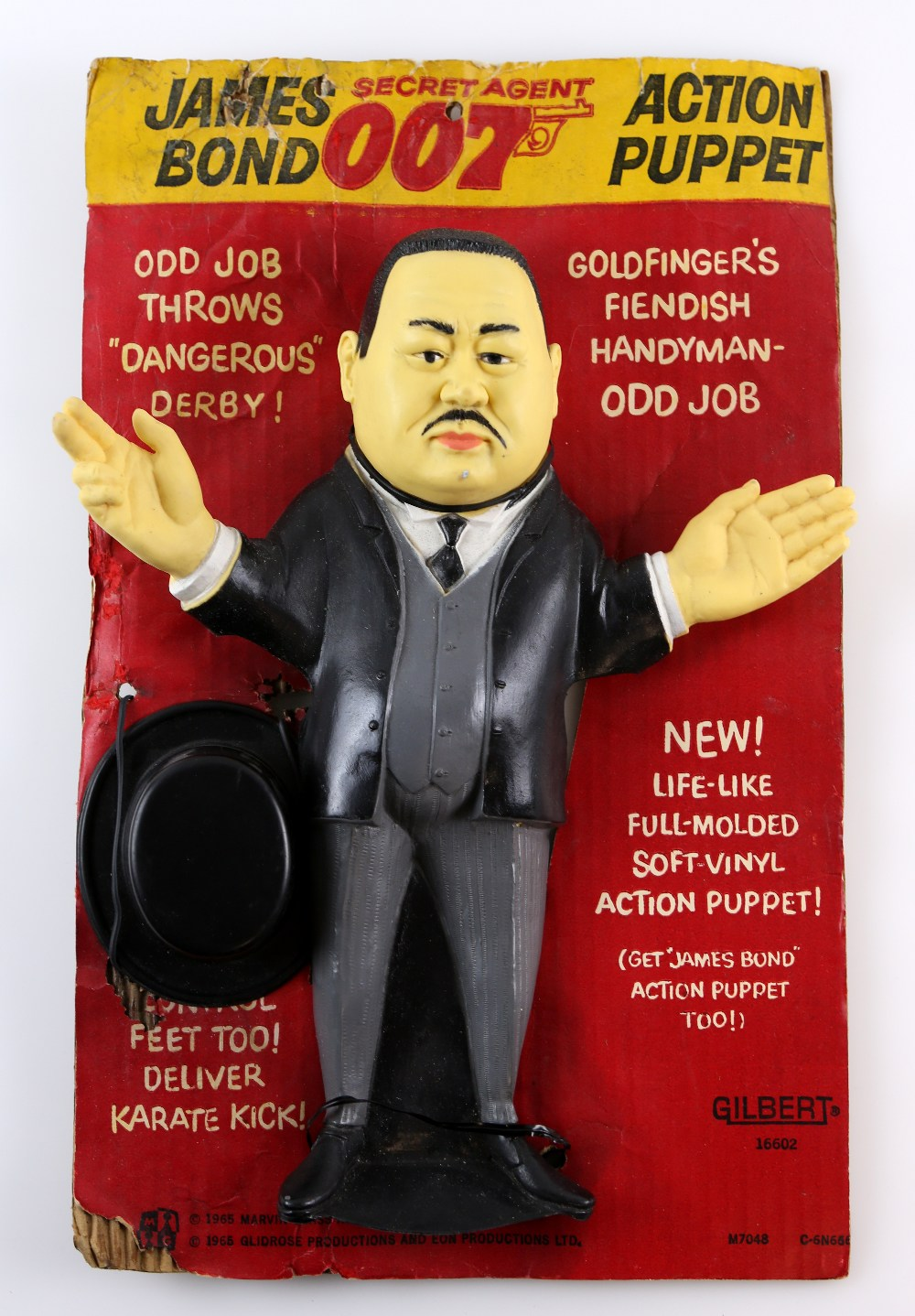 James Bond 007 - Gilbert Oddjob Action Puppet from 1965, 16602, Original card, 13 inches approx..