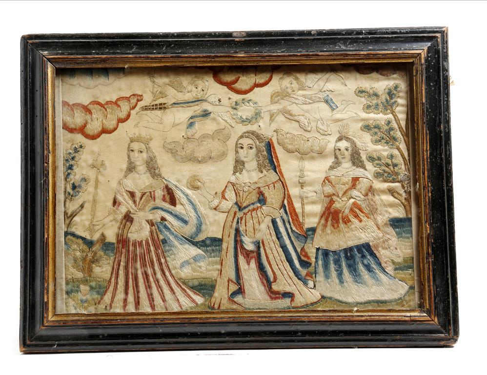 Lot 105 - A late 17th century silkwork embroidered picture, depicting the 'Judgement of Paris', with a