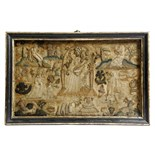 Lot 106 - A Charles II embroidered stumpwork panel, depicting the five senses, touch: a man with a bird,