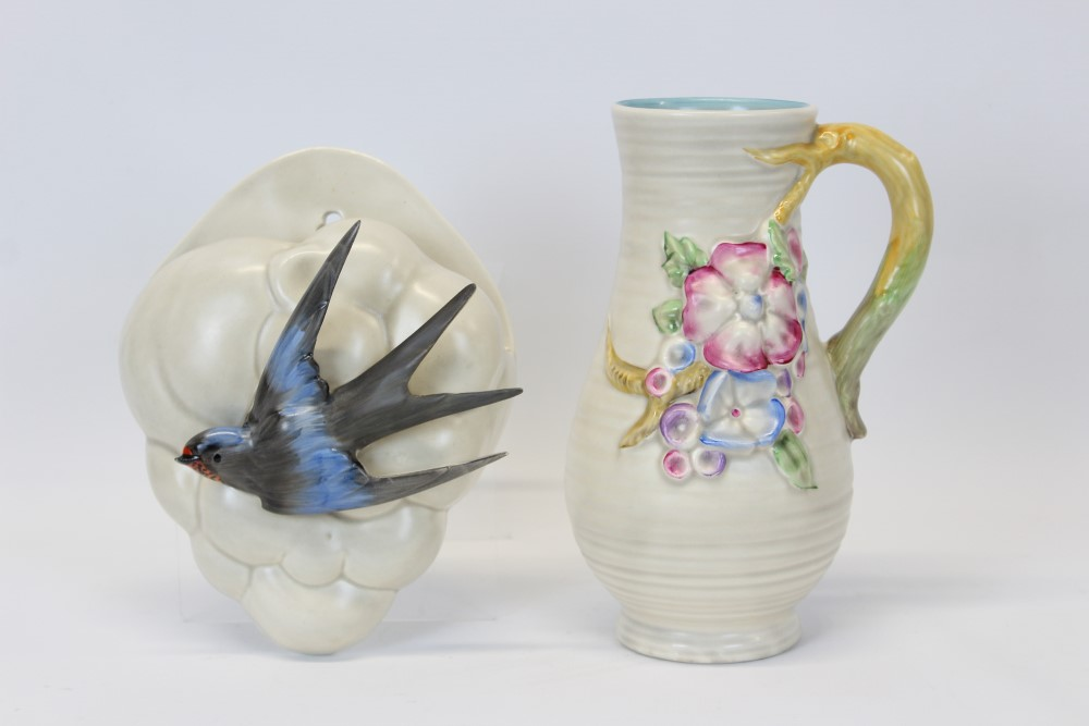 Lot 2021 - Clarice Cliff wall pocket with Swallow in flight against a cloud, shape 874,