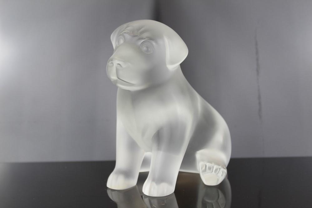 Lot 2014 - Lalique crystal model dog - Sitting puppy, signed on base, 13.