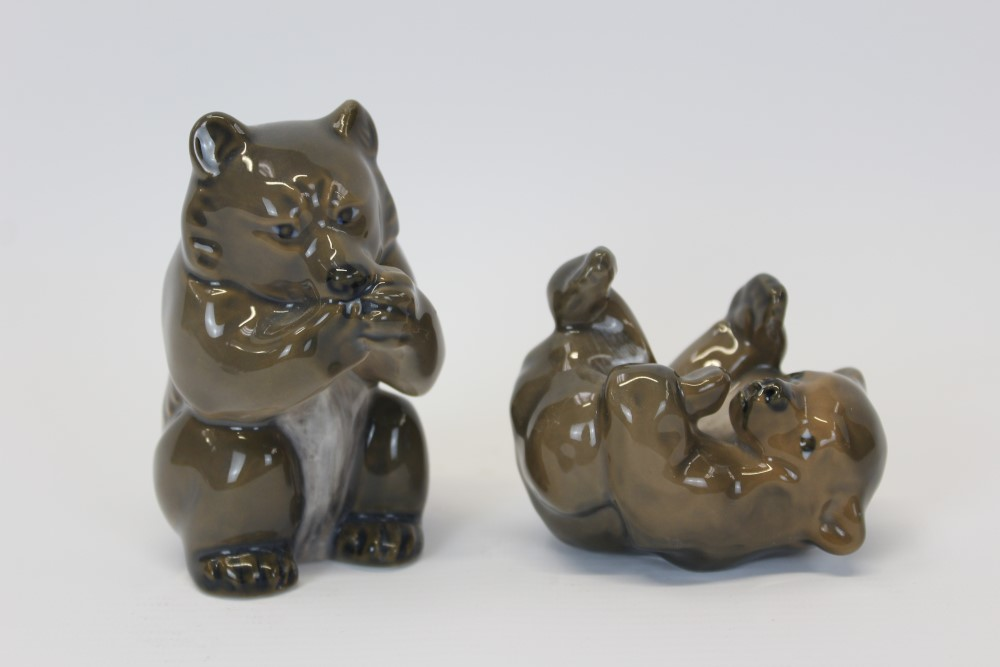 Lot 2036 - Royal Copenhagen porcelain model of a bear, numbered 3014 and one other of a bear cub,
