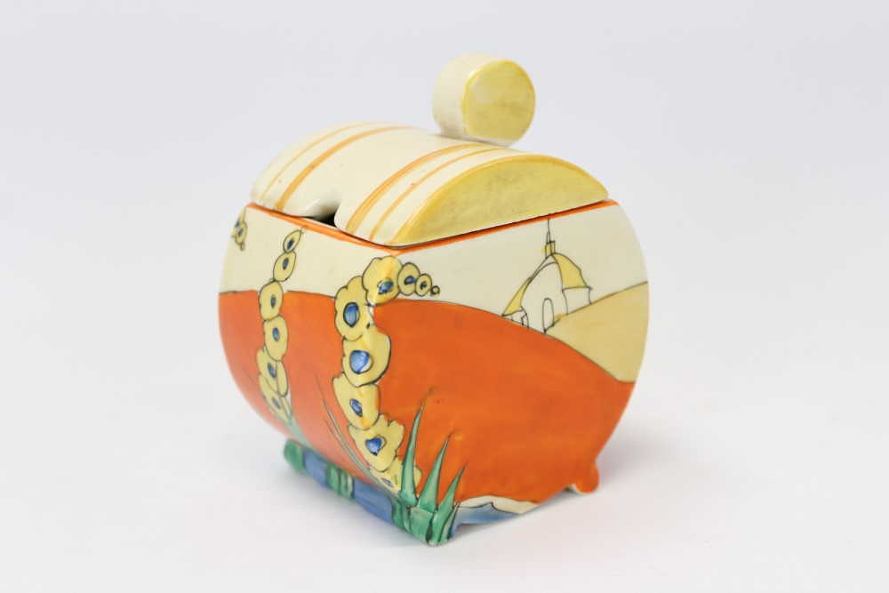 Lot 2007 - Clarice Cliff Bizarre range hand-painted Bonjour design preserve pot and cover, 10.