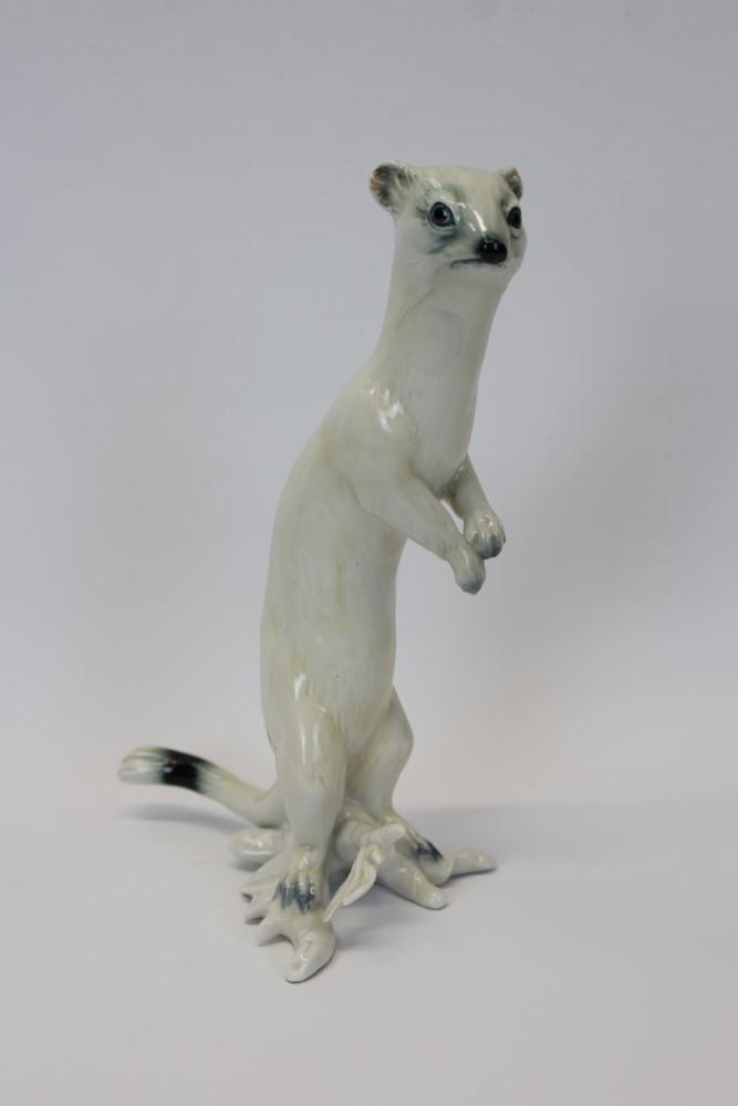 Lot 2033 - Karl Ens porcelain model of a stoat, 23.