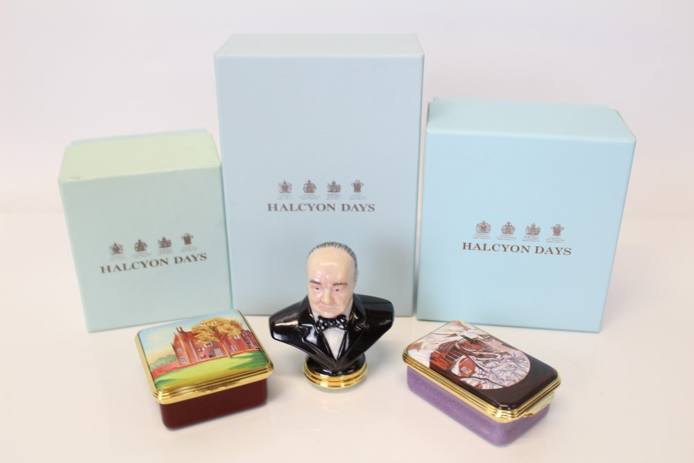 Lot 2029 - Three limited edition Halcyon Days boxes - Winston Churchill no. 13 of 150, Snow Under Arch no.