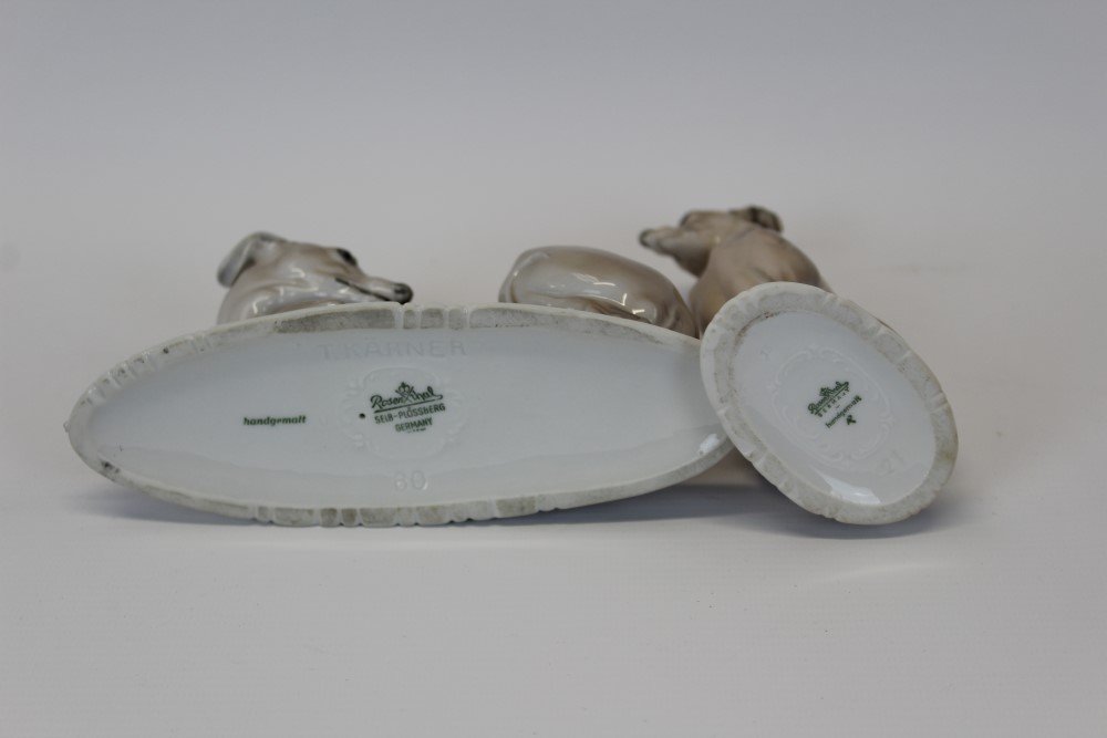 Lot 2055 - Two good quality Rosenthal hand-painted models of whippets or greyhounds CONDITION REPORT