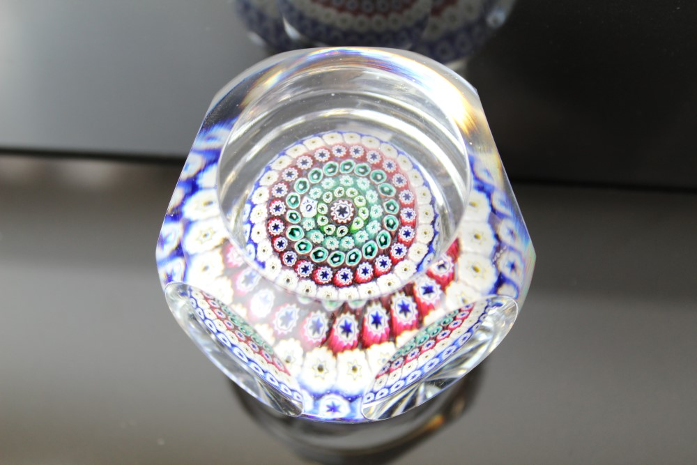 Lot 2023 - Whitefriars glass paperweight, millefiori design and star cut base, signed and dated 1974, 7.