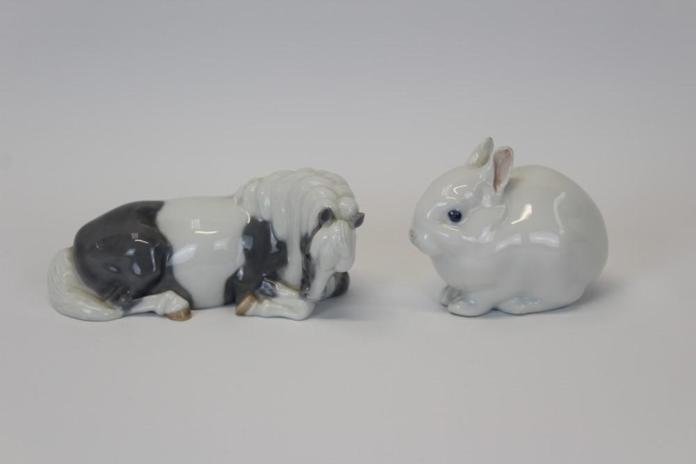 Lot 2040 - Royal Copenhagen porcelain model of a Shetland pony numbered 4611 and Bunny Rabbit numbered 4705