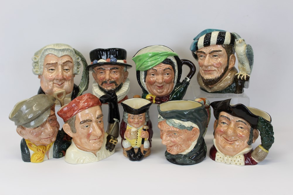 Lot 2050 - Eight Royal Doulton character jugs - Beefeater D6206, The Lawyer D6498, The Gardener D6630,