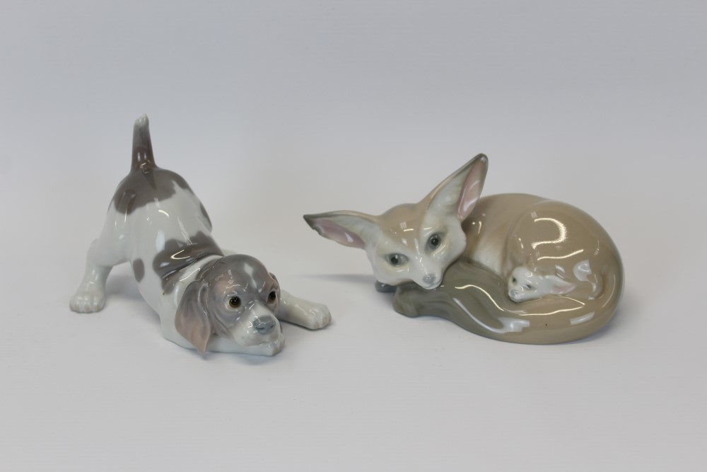 Lot 2044 - Lladro porcelain model of a puppy and one other of fox with cub