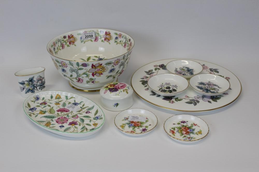 Lot 2059 - Minton Haddon Hall pattern bowl, 22cm diameter, Minton Haddon Hall pattern oval dish,