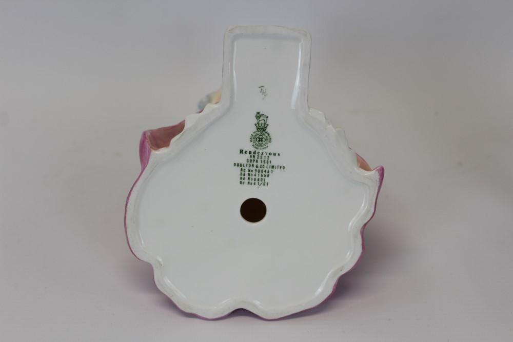 Lot 2058 - Royal Doulton figure - Rendezvous HN2212, Crummles enamel trinket box,