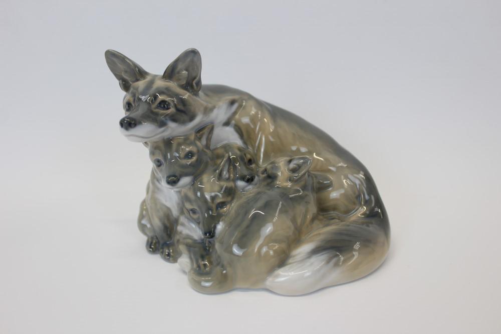 Lot 2030 - Royal Copenhagen porcelain model of a vixen with four cubs, numbered 1788,