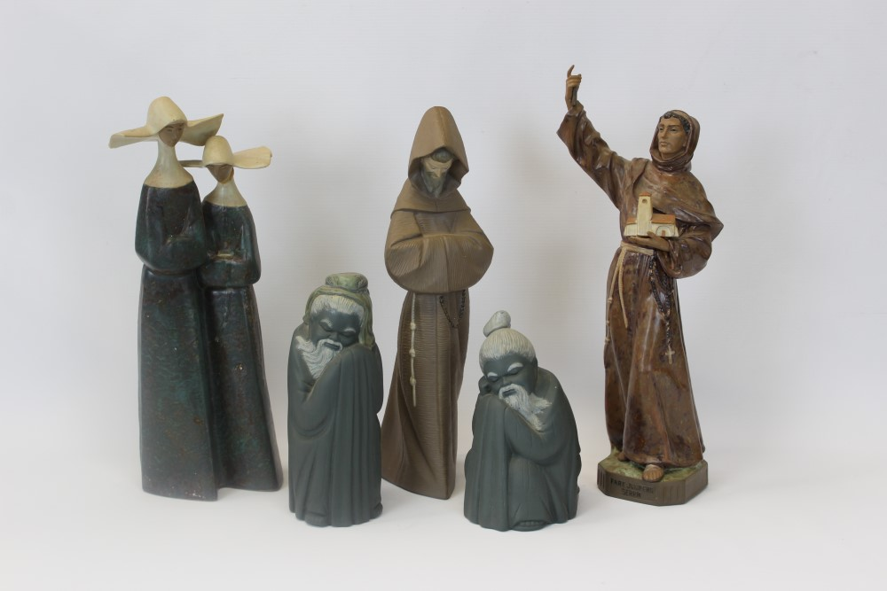 Lot 2051 - Five Lladro religious figures - including Monk, Nuns,