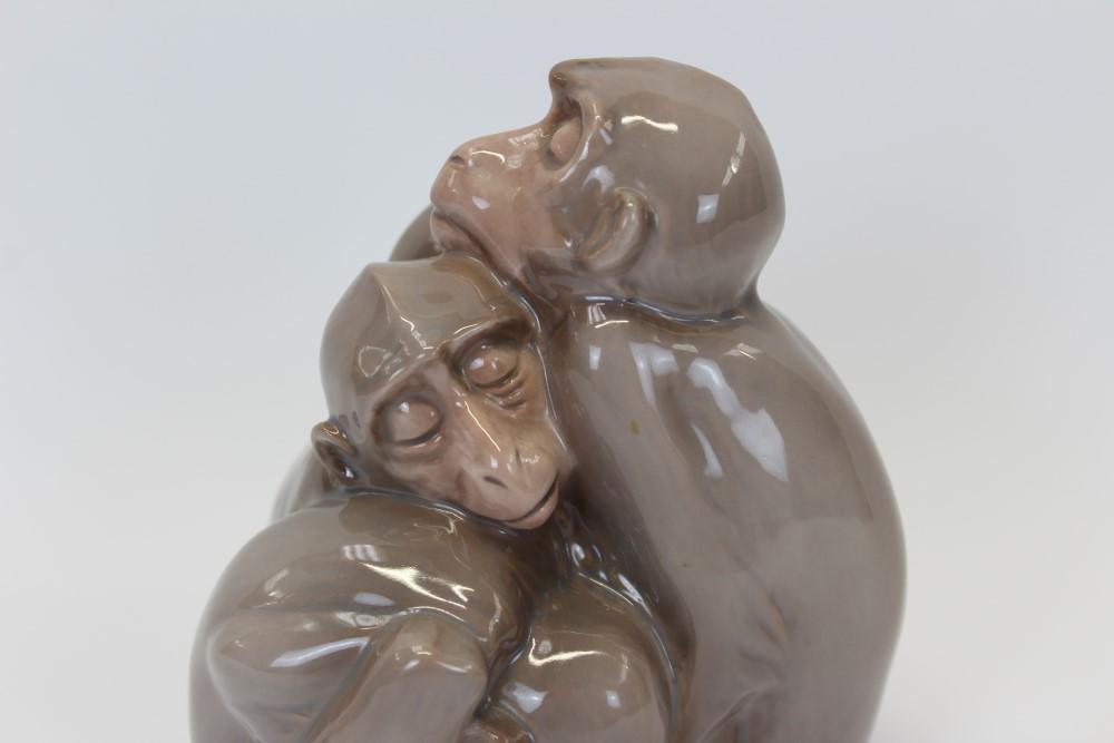 Lot 2031 - Bing & Grondahl porcelain model of four sleeping monkeys, numbered 1581,