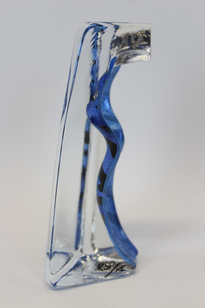 Lot 2024 - 20th century Sea Glasbruk crystal desk weight designed by Renate Stock-Paulsson, of pillar form,