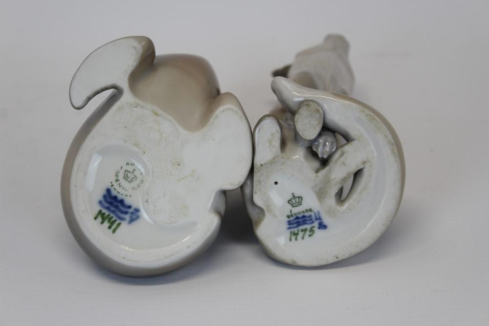 Lot 2053 - Two Royal Copenhagen porcelain models - Fox no. 1475 and Sea Lion no.