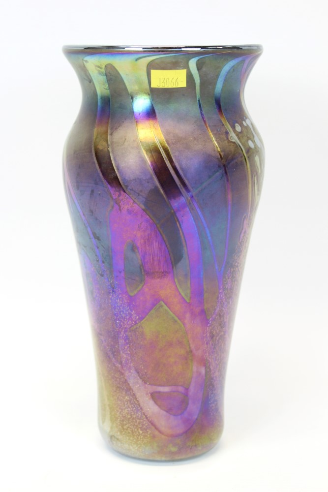 Lot 2017 - John Ditchfield purple iridescent vase, signed on base,