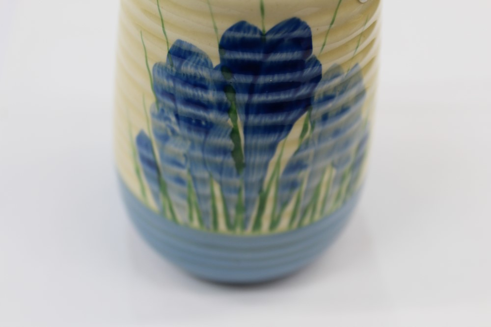 Lot 2020 - Clarice Cliff Bizarre range blue Crocus pattern hand-painted sugar castor - printed marks to base