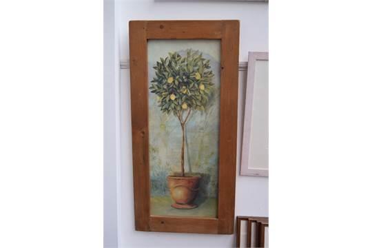 A framed print of a lemon tree by Fabrice De Villeneuve, 100 x 40cm