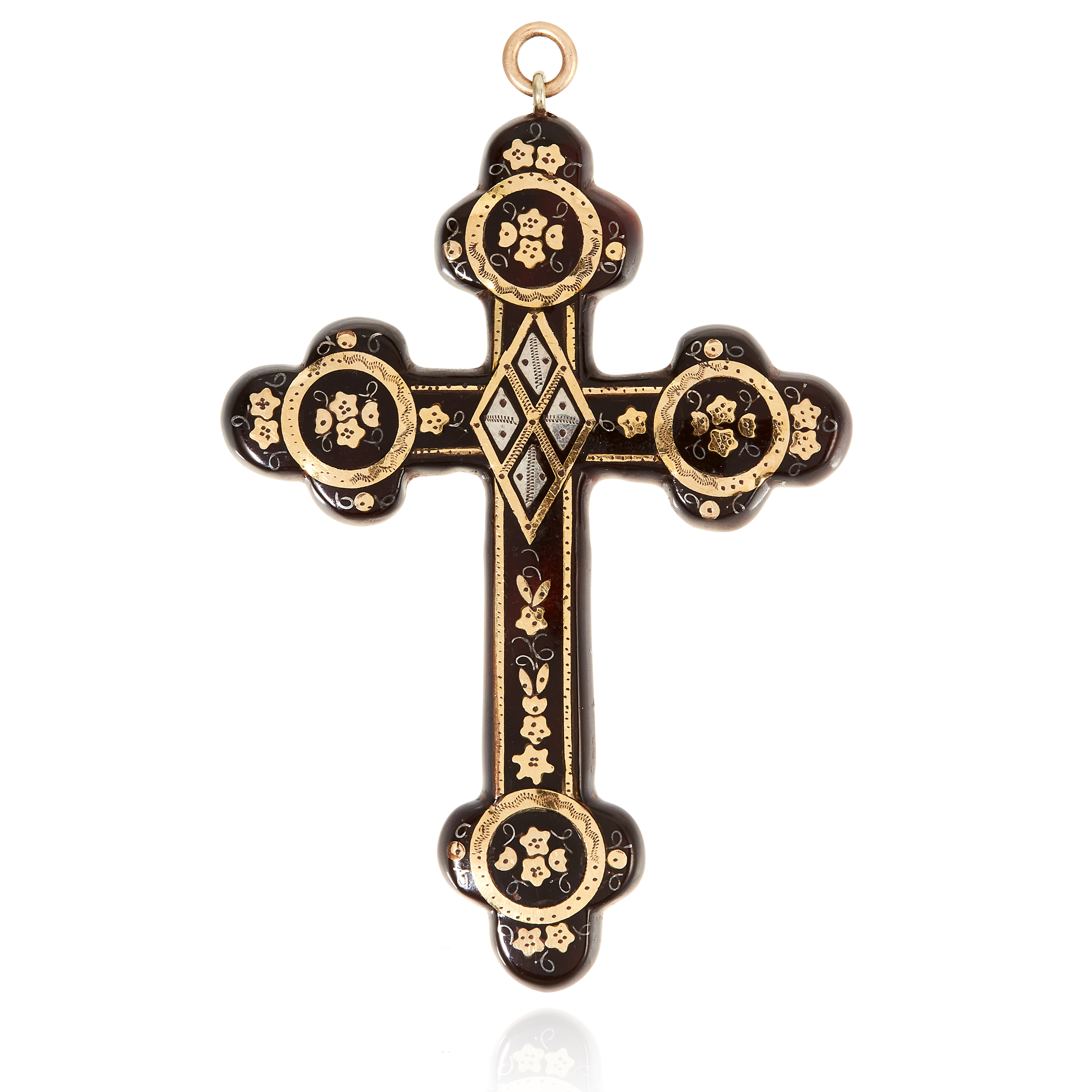 AN ANTIQUE TORTOISESHELL PIQUE PENDANT, 19TH CENTURY designed as a cross / crucifix, decorated