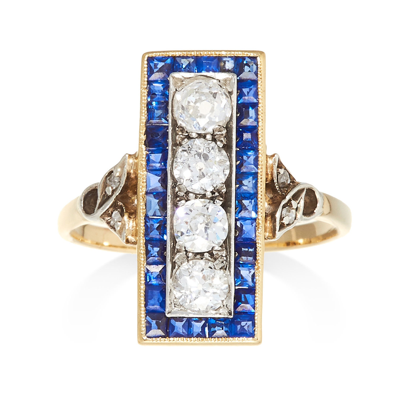 AN ART DECO SAPPHIRE AND DIAMOND RING in high carat yellow gold, comprising of a rectangular face