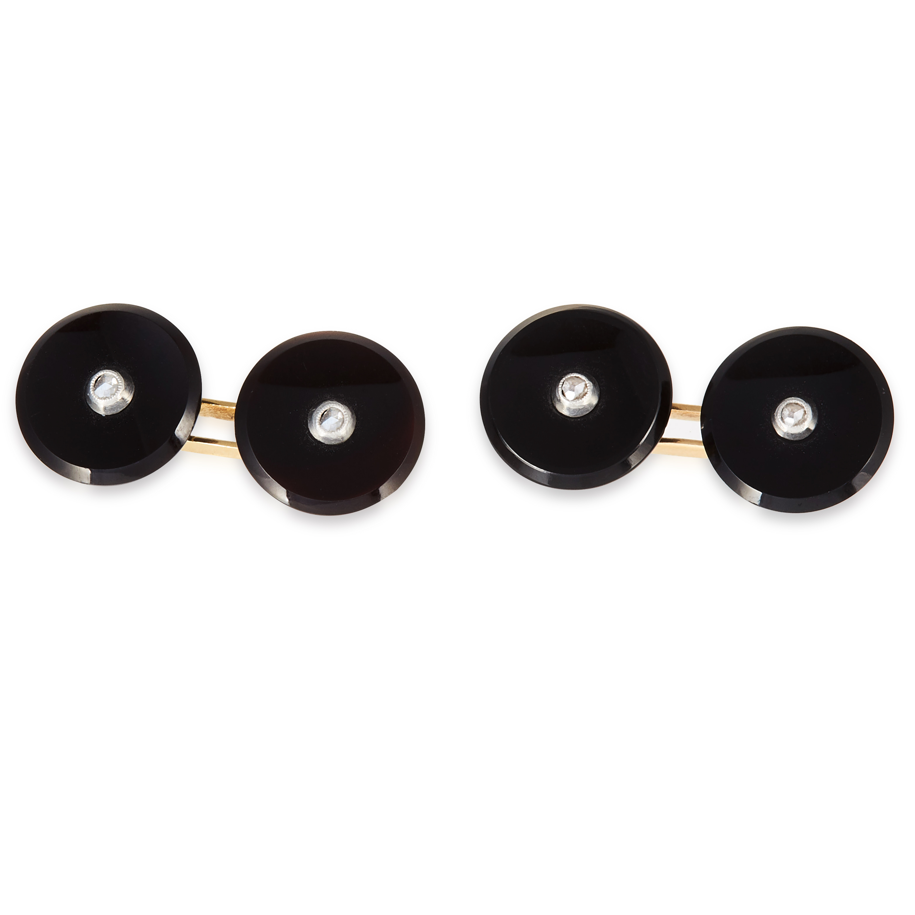 A PAIR OF ART DECO DIAMOND AND ONYX CUFFLINKS in yellow gold, each formed of two circular polished