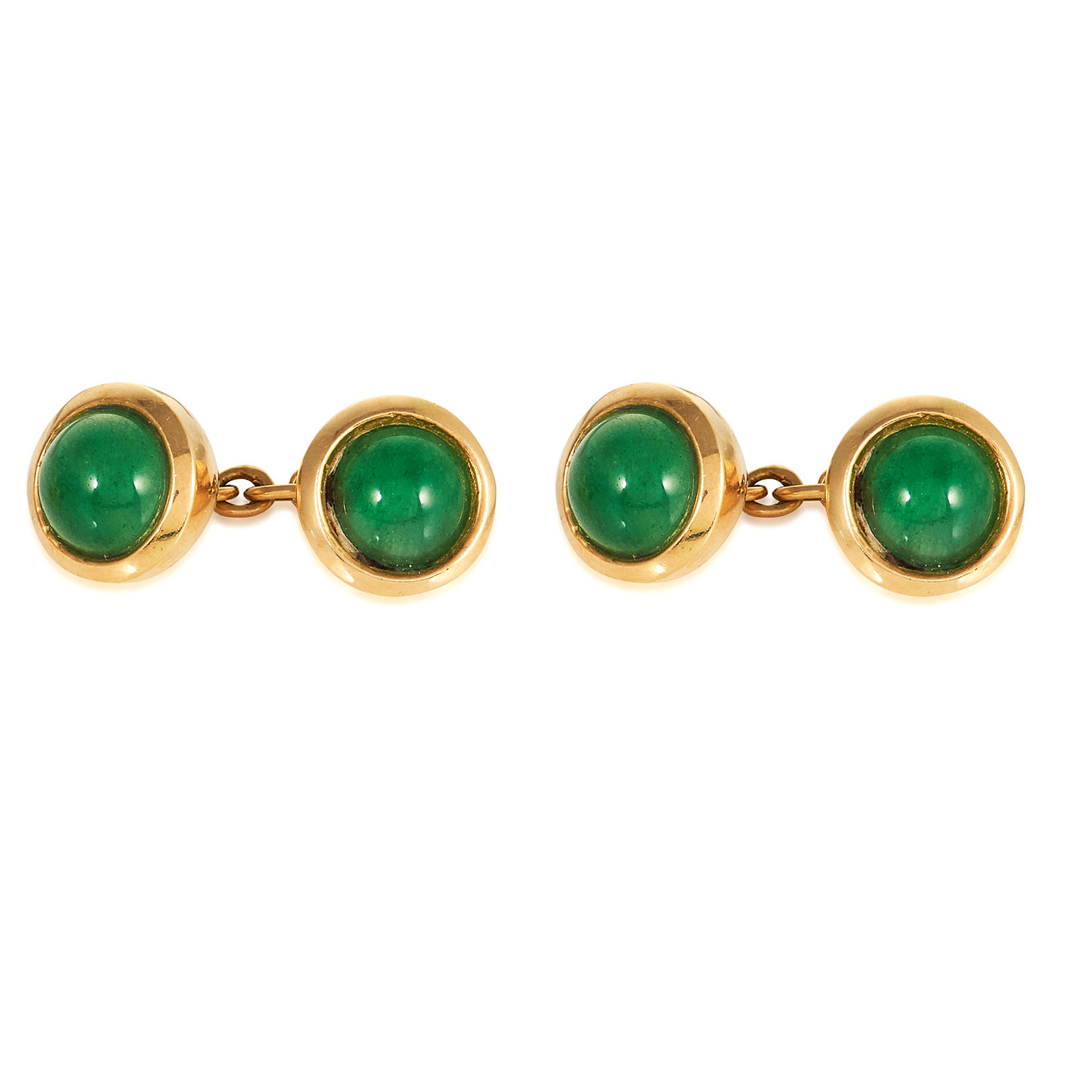 A PAIR OF CHRYSOPRASE CUFFLINKS in high carat yellow gold, each jewelled with two cabochon