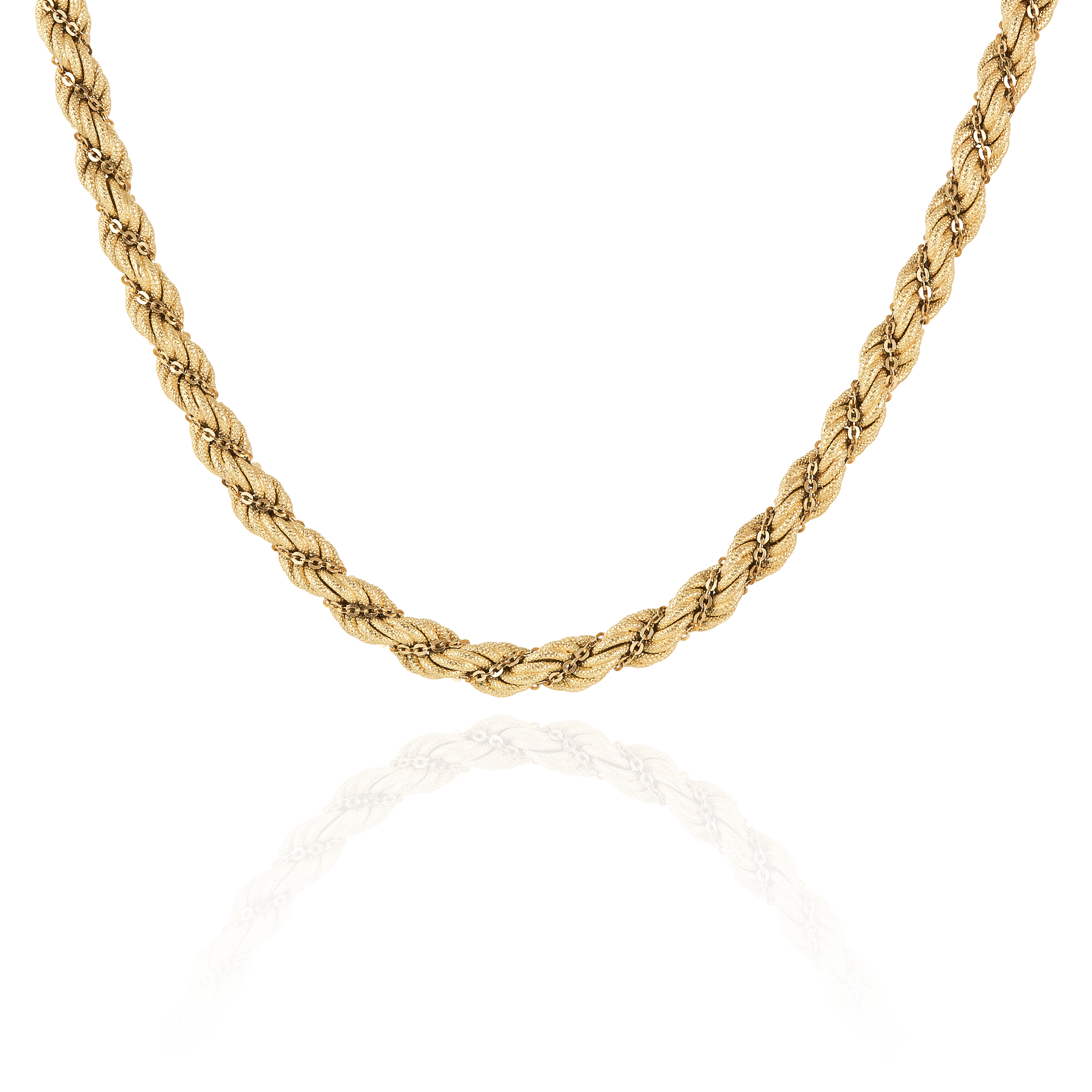 A FANCY LINK ROPE CHAIN NECKLACE, ITALIAN in 18ct yellow gold, designed as intertwining gold chain