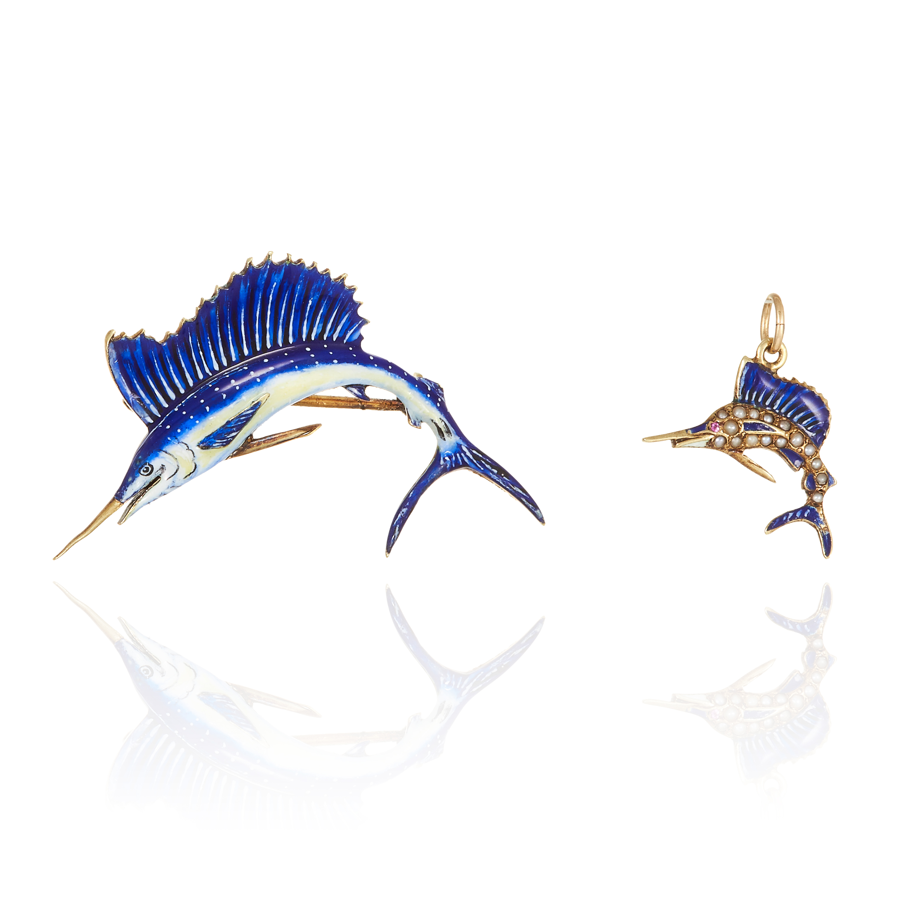 AN ANTIQUE ENAMEL SAILFISH BROOCH AND PENDANT in high carat yellow gold, each designed as a