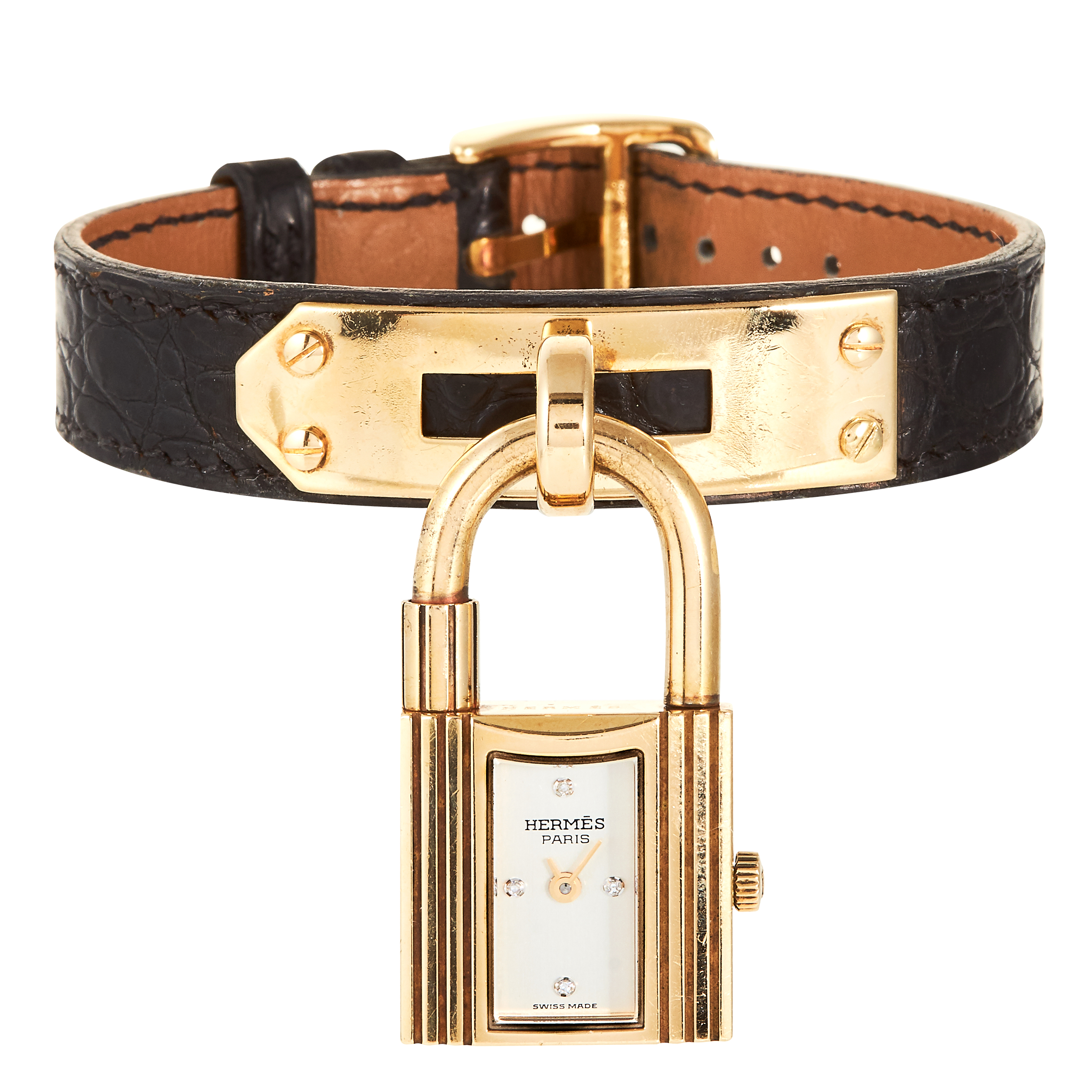 A KELLY BAG DIAMOND AND LEATHER PADLOCK WATCH, HERMES in 18ct yellow gold, designed as a padlock